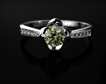 White Gold Peridot Engagement Ring White Gold Peridot Ring Peridot Engagement Ring Gemstone Ring Peridot Ring Peridot August Birthstone Ring
