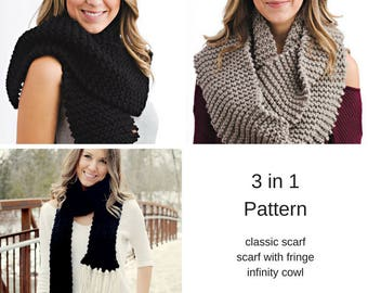 Knitting Pattern - 3 in 1 Oversized Scarf // Wrap Me In Warmth