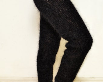 To Order Black Mohair Leggings Fuzzy Pants Mohair Leg Warmers Hand Knitted by Tangles