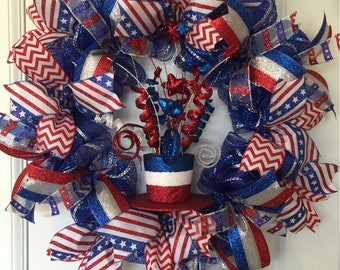Patriotic Hat of Sparkles in Red, White and Blue