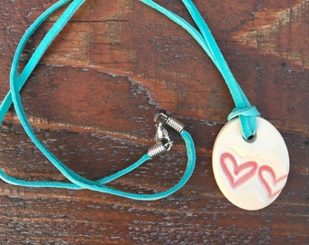 Ceramic Heart Necklace, Heart Necklace
