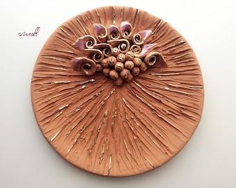 Floral decorative plate by Vittoria Valmaggia vintage ceramics