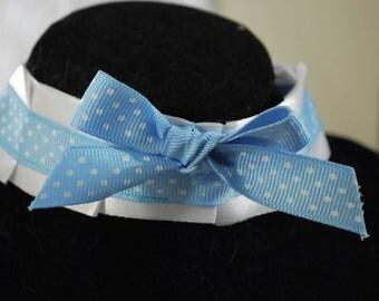 Custom Made White with Blue Polka Dot Ribbon Choker Coller for Neko Cosplay, Kittenplay, etc