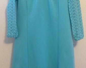 1960s MOD Robin's Egg Blue Dress, Space Age Vintage, Crochet Sleeves, A-line Shift, Mock Neck Collar, Size Medium to Large