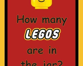 Printable Party Game Sign - How Many Legos - 4 sizes, Printable PDF, Digital Instant Download