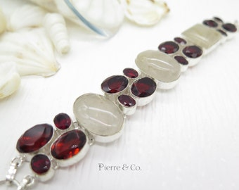Rutilated Quartz and Garnet Sterling Silver Bracelet