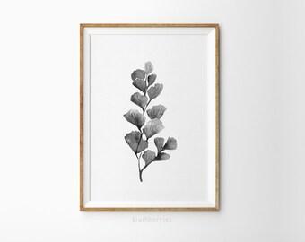Botanical print - Minimalist botany art - Botanical art prints - Black and white leaf - Modern home decor - Printable leaves