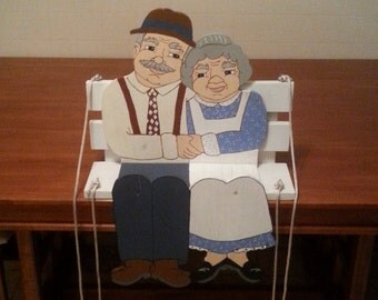 Vintage Ma & Pa Porch Swing Hand Painted Wooden Home Decor