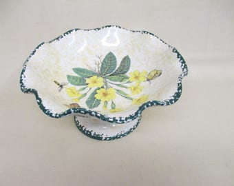 Ceramic Fruit Bowl  - Italian Made - Anconi Pietro - Primroses / Butterflies Decoration