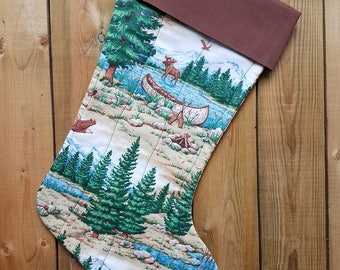 Wilderness Quilted Christmas Stocking