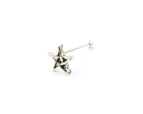 Sterling Silver Pentagram Nose Stud, Pentacle Nose Pin, Star Nose Jewelry, Wiccan, Pagan, Spiritual, Gypsy, Festival Jewelry