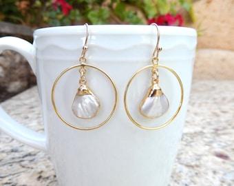 Mother of Pearl Hoop Earrings 24K Gold Electroplate Fan Triangle Shell Beach Free Shipping Jewelry