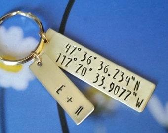 Custom coordinates gps coordinates keychain personalized keychain GPS coordinates gift - Gift for husband - coordinates key chain