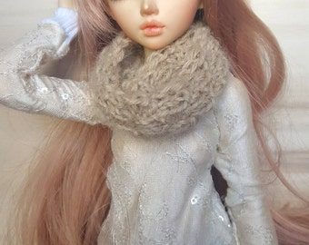 BJD 1/4 scarf for MSD dolls, small hand knitted accessory