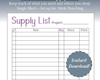 Purple Supply List, Project Budgeting, Simple, Business Planning, Project Planning, Letter Size, Printable, Instant Download