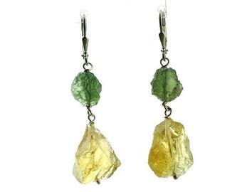 Moldavite & natural citrine earrings.
