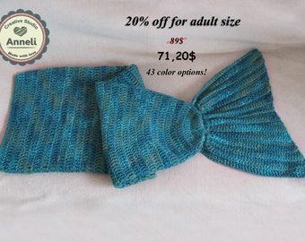 Mermaid tail blanket/ Mermaid blanket/ Crochet mermaid tail blanket/ Adult mermaid tail blanket/ Teen mermaid tail blanket/ Child blanket