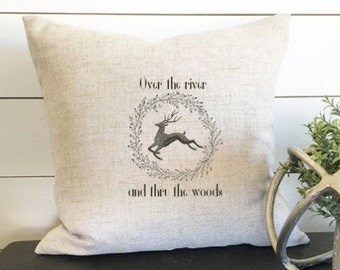 Over the River and thru the Woods Pillow, Christmas Pillow Cover, Christmas Decor, Christmas Decor Christmas Gift