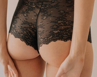 Ella Brief Handmade High Waist Knickers Black Floral Lace from Isadore Intimates London
