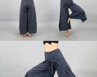 Unisex Wrap Pants / Sarong pants / Thai Pants / Harem pants / Samurai Pants / Yoga pants / Asian tie up pants boho chic bohemian loose flow
