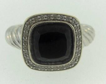Vintage Onyx Filigree Ring-14k White Gold