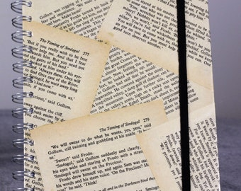 Hand Crafted A5 Spiral Hardback Notebook Wrapped in Pages Out of A Second Hand Copy of Lord of the Rings