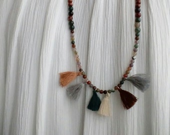 Bohemian necklace natural stones of Jasper, wooden beads and PomPoms.