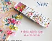 Quilting Clips - Sewing Clips - Fabric Clip - Floral Quilting Clip - Binding Clips - Clips in Tins - Gift for Quilters - Quilt Retreat Gift