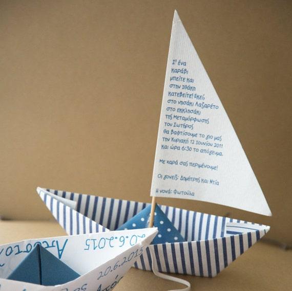 navy blue paper boat party invitations birthday baptism – Boat Party Invitation