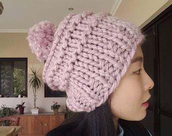Super Chunky Lilac Knit Beanie with Pom Pom (15% reduced)
