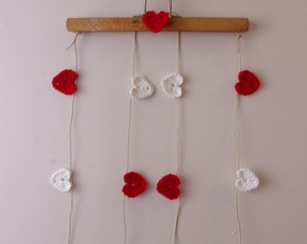 Crochet Hearts Garland - Red & White