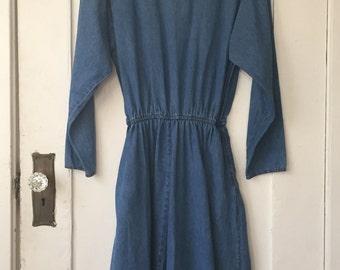 Women's Medium - Vintage 90s Full-Length Denim Long Sleeve Dress - Coldwater Creek