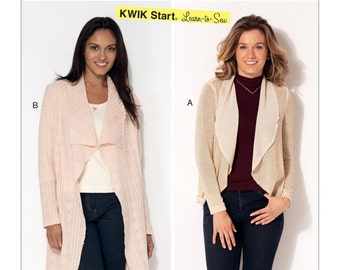 Sewing Pattern for Misses' Shawl Collar Cardigan Sweaters, Kwik Sew Pattern 4192, NEW Pattern Release 2016, Learn-to-Sew Pattern