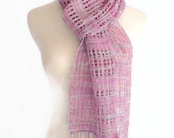 hand woven wool scarf, pink green lace scarf, spring scarf, gift for her, lightweight summer scarf, handwoven scarf by SpunWool
