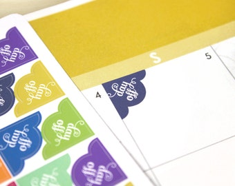 Day Off Corner Planner Stickers, 72 colorful scalloped reminder stickers, Erin Condren, Happy Planner, ECLP 2017 colors or assorted