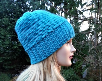 Turquoise Handmade Women Hat. Hand knitted Turquoise Winter hat. Hand Knit Beanie. Unique handmade knitted hat Wool Winter Hat. Gift for Her