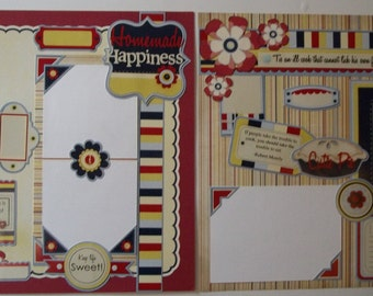 """12x12 page titled """"Homemade Happiness""""; 12x12 premade scrapbook page; 12x12 Two page layout; premade scrapbook pages; scrapbook layout"""