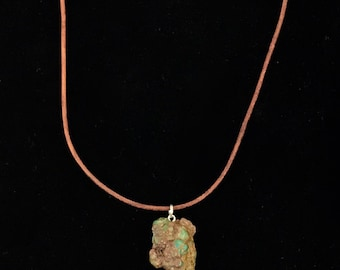 Arizona Turquoise Pendant, stabilized  nugget, brown leather, necklace, hand made, polished
