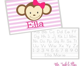Girl Monkey Placemat - Personalized Placemat - Children's Placemat - Child Placemat - Laminated Placemat