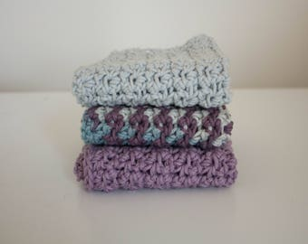 Knit Dish Cloths- blue Dish Cloths- Cotton Dish Rag- Dish Towels- Wash Cloth - purple dish cloth - Set of 3 dish cloths - crochet dish cloth