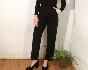 Vintage 80's | Black wool high waisted cropped pants | W25