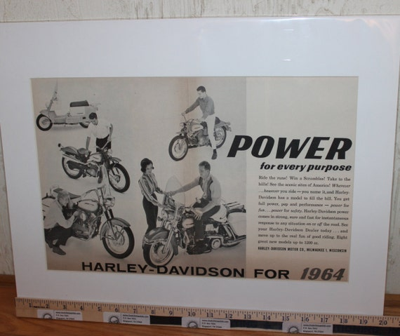 """1964 Vintage Harley-Davidson - Power For Every Purpose - 16"""" x 20"""" Matted Print Motorcycle Ad / Art / Poster 6401amot02m"""