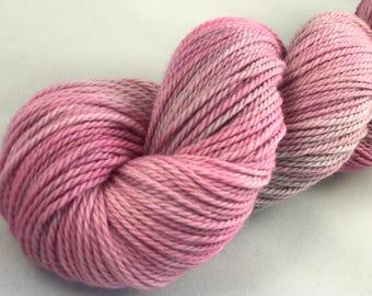 "Hand Dyed Worsted Yarn, 100% Merino Wool ""Pink Cloud"""