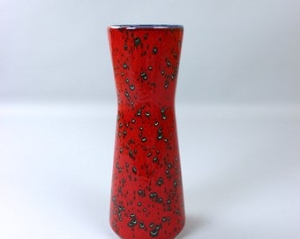Mid century modern vase, flower vase, ceramic vase 207-27 red black white, Germany