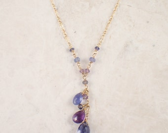 14K Yellow Gold Iolite and Amethyst Necklace