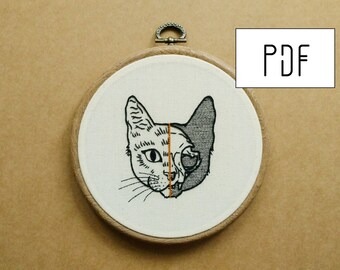 Half Cat Skull Hand Embroidery Pattern (PDF modern embroidery pattern)