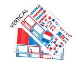 Happy 4th of July Sticker Set VERTICAL Erin Condren Life Planner ECLP Mambi Kawaii Cute Weekly Kit Headers Flags BBQ Fireworks Patriotic