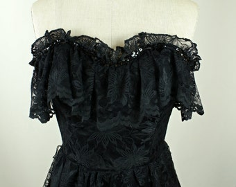 Black Lace Peplum Strapless Dress: Sequin Detailed XS