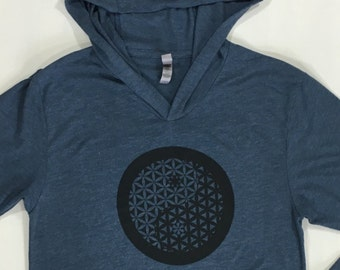 Egyptian Blue Yin Yang Flower Of Life Sacred Geometry Lightweight Pullover Hoodie
