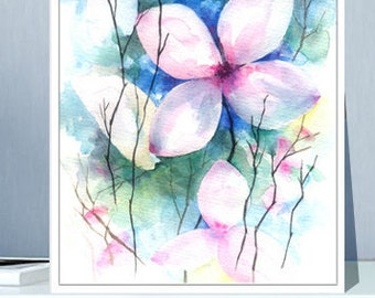 flower digital download, flower art printable, flower wall decor, abstract flower painting, abstract flower art print, flower watercolor
